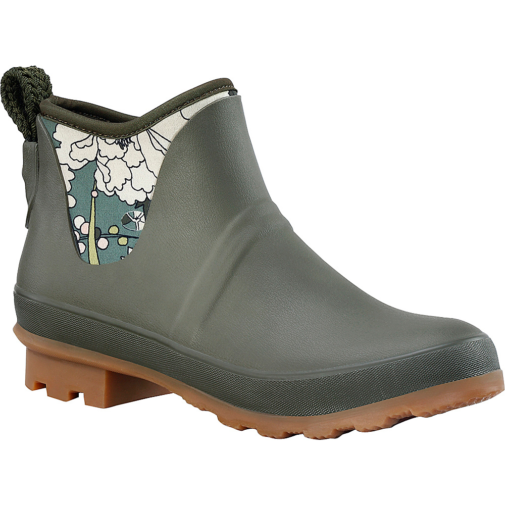 Sakroots Mano Ankle Rain Boot 8 - M (Regular/Medium) - Olive Flower Power - Sakroots Womens Footwear - Apparel & Footwear, Women's Footwear