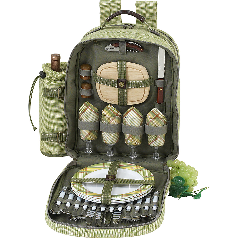Picnic at Ascot Deluxe Equipped 4 Person Picnic Backpack with Cooler & Insulated Wine Holder Olive Tweed - Picnic at Ascot Outdoor Coolers - Outdoor, Outdoor Coolers