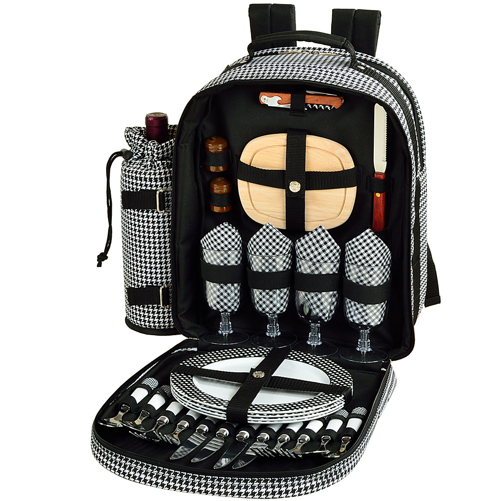 Picnic at Ascot Deluxe Equipped 4 Person Picnic Backpack with Cooler & Insulated Wine Holder Houndstooth - Picnic at Ascot Outdoor Coolers - Outdoor, Outdoor Coolers