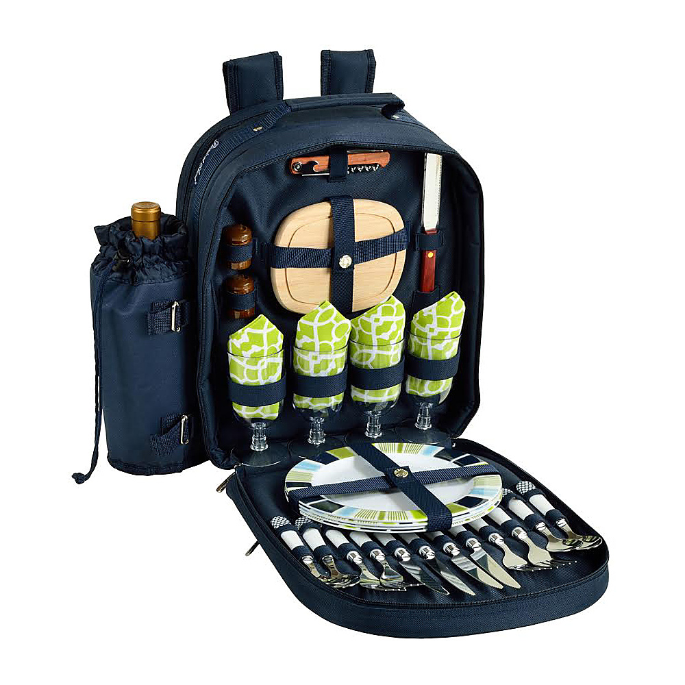 Picnic at Ascot Deluxe Equipped 4 Person Picnic Backpack with Cooler & Insulated Wine Holder Navy/White with Trellis Green - Picnic at Ascot Outdoor Coolers
