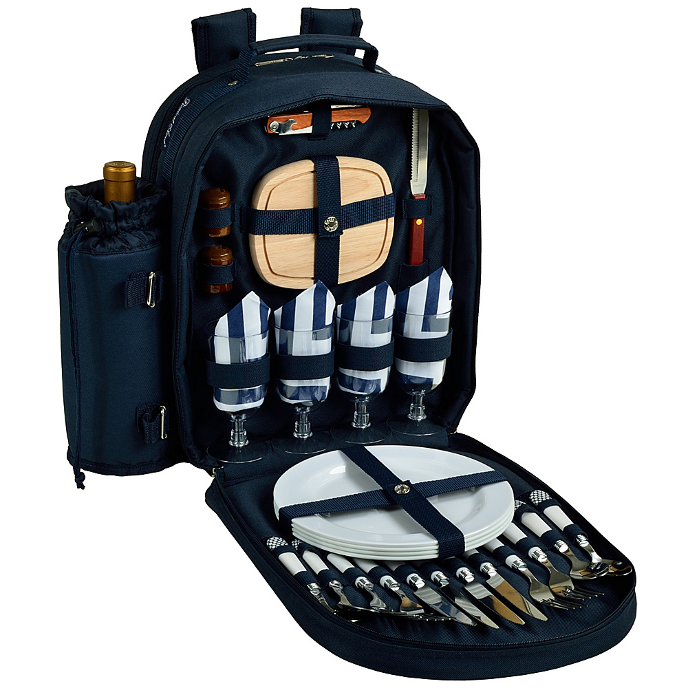 Picnic at Ascot Deluxe Equipped 4 Person Picnic Backpack with Cooler & Insulated Wine Holder Navy/White with Chevron - Picnic at Ascot Outdoor Coolers