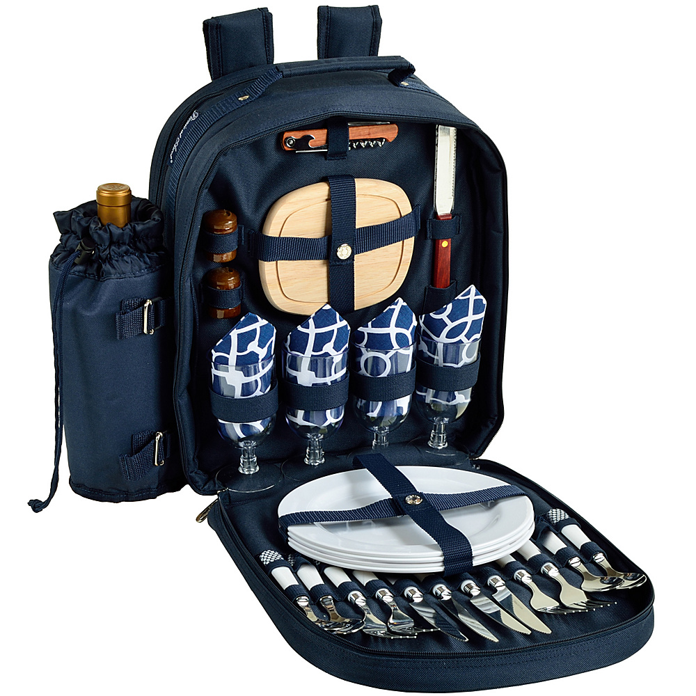 Picnic at Ascot Deluxe Equipped 4 Person Picnic Backpack with Cooler & Insulated Wine Holder Navy/White with Trellis Blue - Picnic at Ascot Outdoor Coolers - Outdoor, Outdoor Coolers