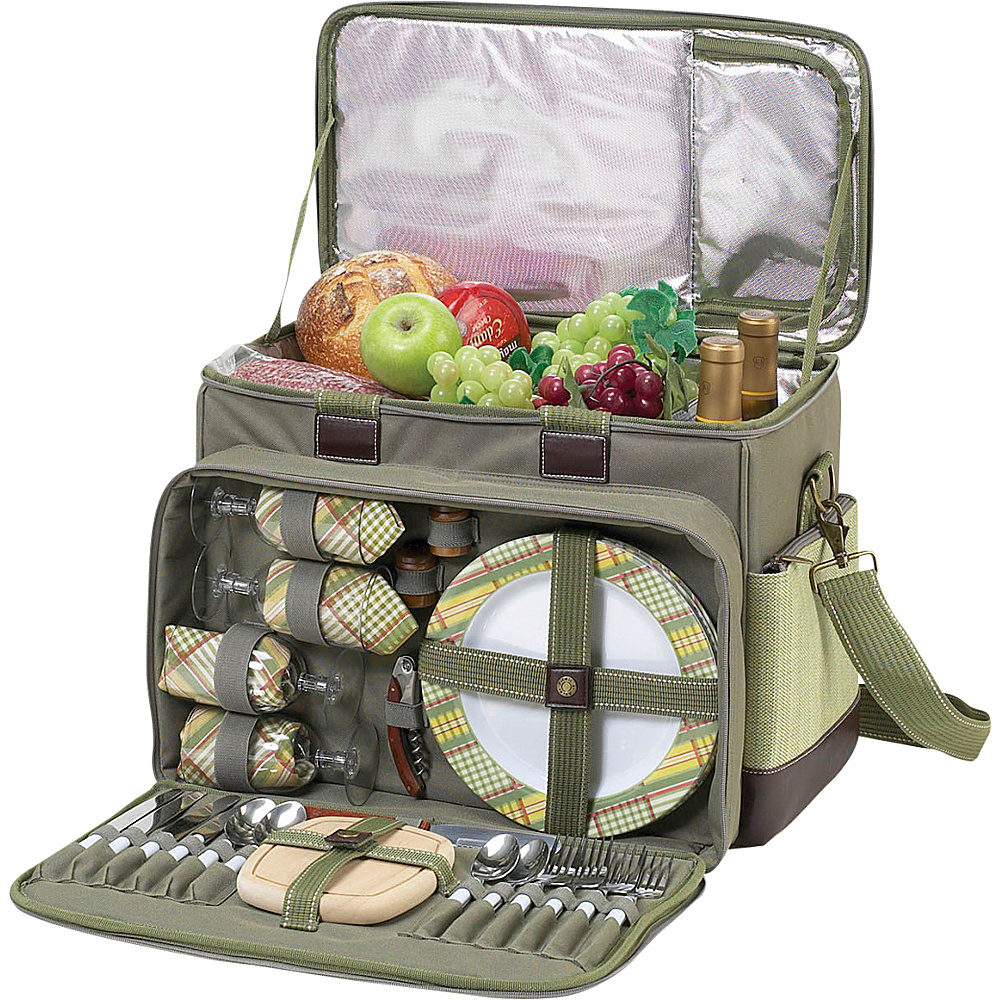 Picnic at Ascot Ultimate Insulated Picnic Cooler with Service for 4 Olive Tweed - Picnic at Ascot Outdoor Coolers - Outdoor, Outdoor Coolers