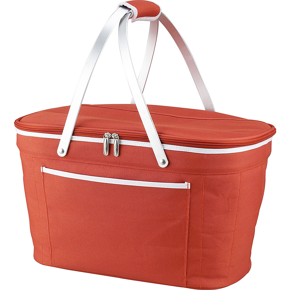 Picnic at Ascot Stylish Insulated Market Basket / Picnic Tote with Sewn in Aluminum Frame Orange - Picnic at Ascot Outdoor Coolers - Outdoor, Outdoor Coolers
