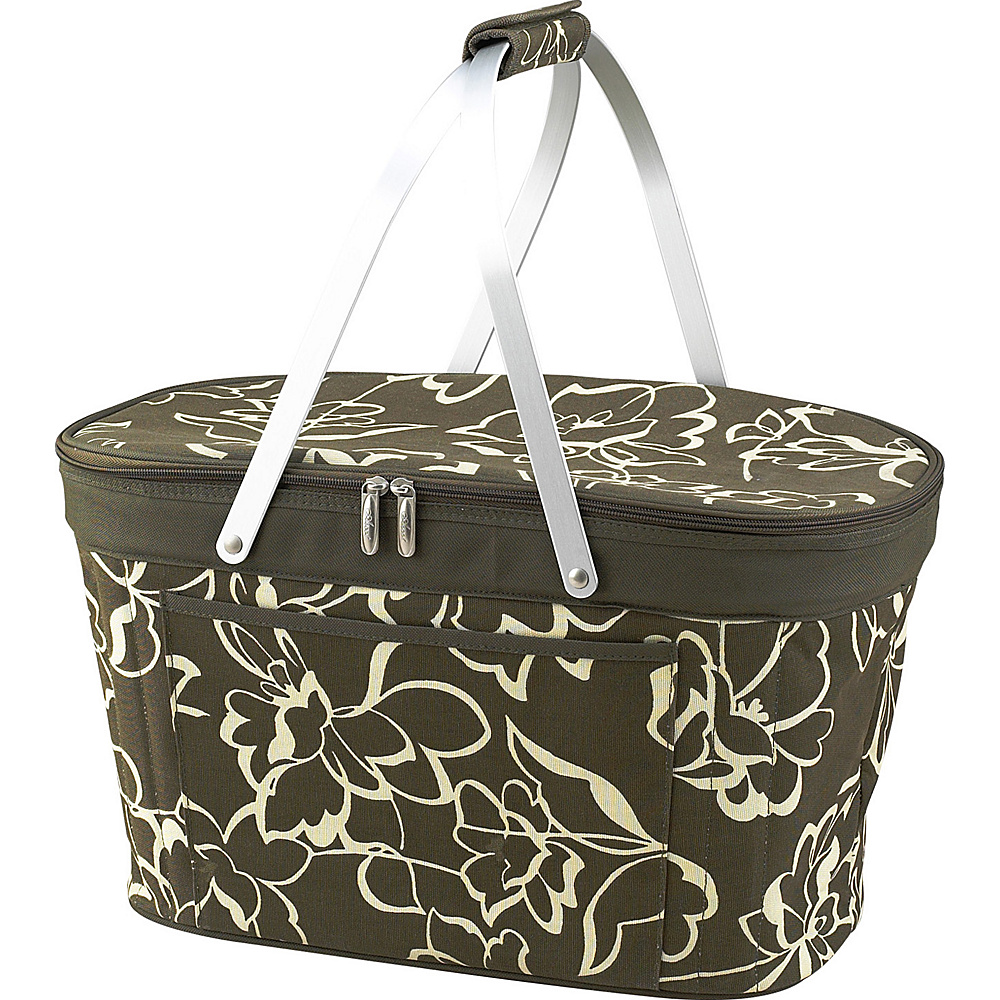 Picnic at Ascot Stylish Insulated Market Basket / Picnic Tote with Sewn in Aluminum Frame Olive Floral - Picnic at Ascot Outdoor Coolers - Outdoor, Outdoor Coolers