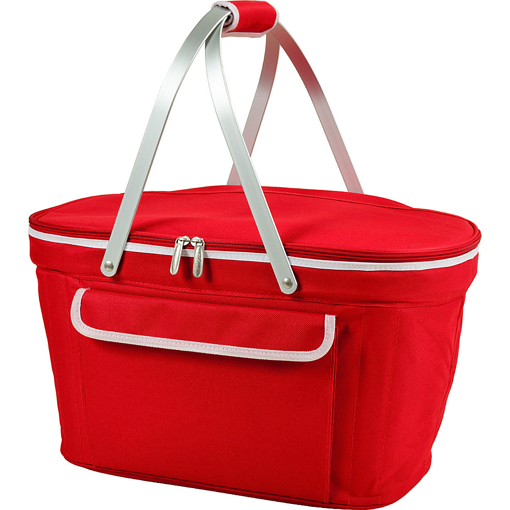 Picnic at Ascot Stylish Insulated Market Basket / Picnic Tote with Sewn in Aluminum Frame Red - Picnic at Ascot Outdoor Coolers - Outdoor, Outdoor Coolers