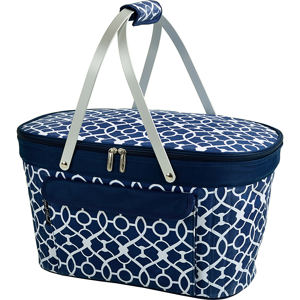 Picnic at Ascot Stylish Insulated Market Basket / Picnic Tote with Sewn in Aluminum Frame Trellis Blue - Picnic at Ascot Outdoor Coolers - Outdoor, Outdoor Coolers