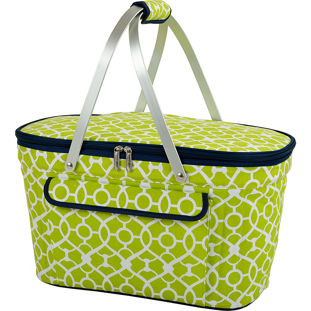 Picnic at Ascot Stylish Insulated Market Basket / Picnic Tote with Sewn in Aluminum Frame Trellis Green - Picnic at Ascot Outdoor Coolers - Outdoor, Outdoor Coolers