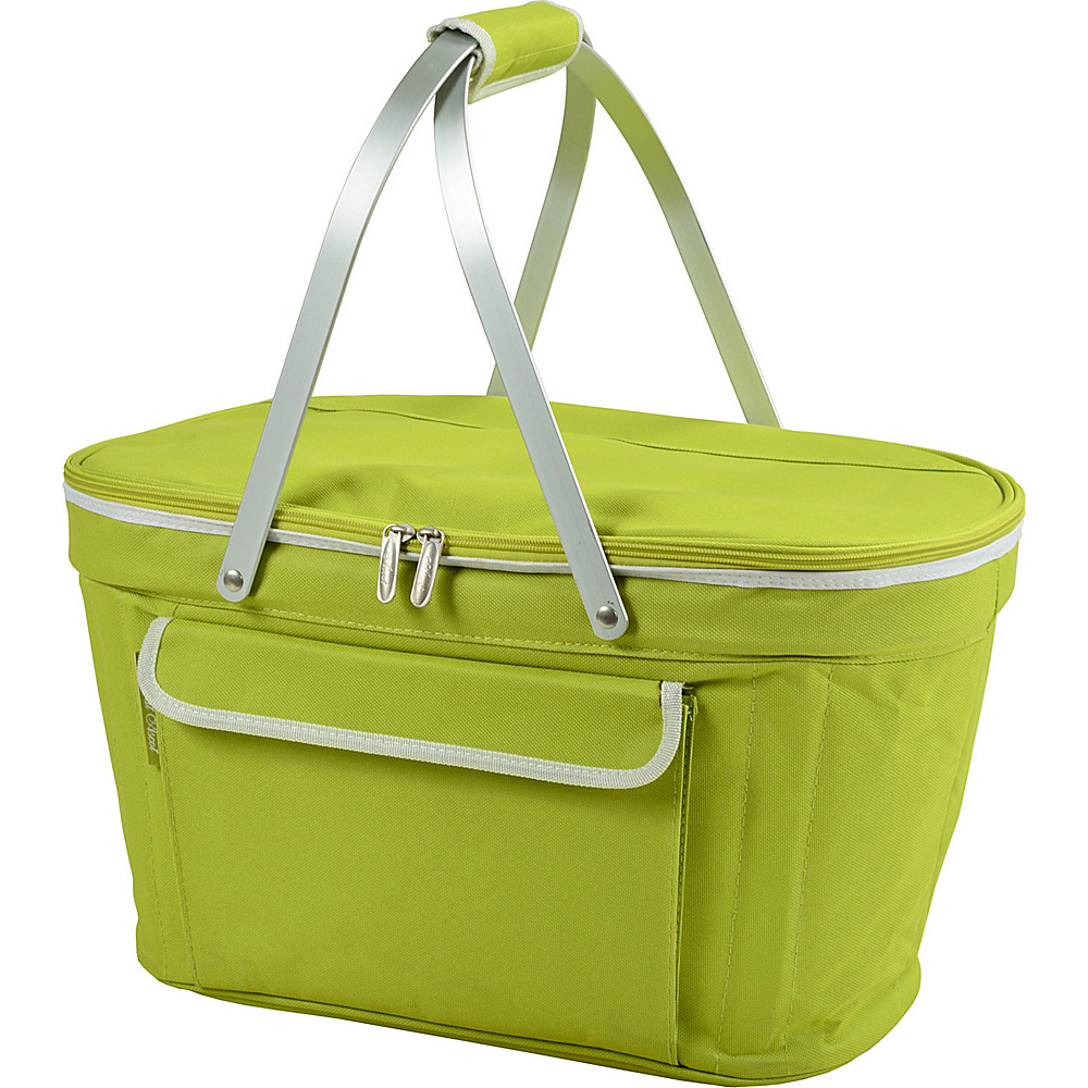 Picnic at Ascot Stylish Insulated Market Basket / Picnic Tote with Sewn in Aluminum Frame Apple Green - Picnic at Ascot Outdoor Coolers - Outdoor, Outdoor Coolers