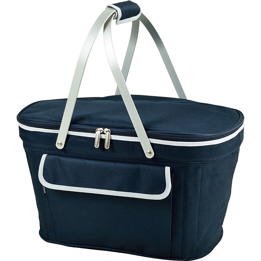 Picnic at Ascot Stylish Insulated Market Basket / Picnic Tote with Sewn in Aluminum Frame Blue - Picnic at Ascot Outdoor Coolers - Outdoor, Outdoor Coolers