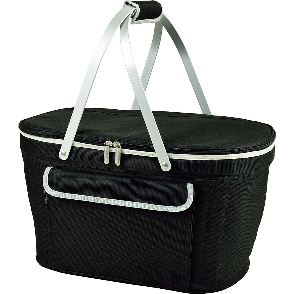 Picnic at Ascot Stylish Insulated Market Basket / Picnic Tote with Sewn in Aluminum Frame Black - Picnic at Ascot Outdoor Coolers - Outdoor, Outdoor Coolers