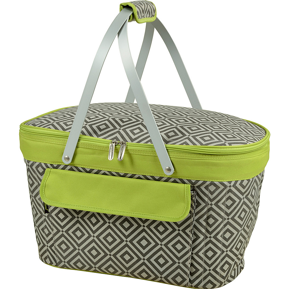 Picnic at Ascot Stylish Insulated Market Basket / Picnic Tote with Sewn in Aluminum Frame Granite Grey/Green - Picnic at Ascot Outdoor Coolers - Outdoor, Outdoor Coolers