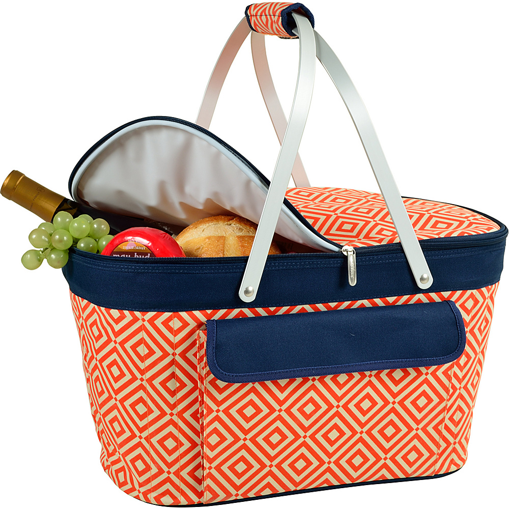 Picnic at Ascot Stylish Insulated Market Basket / Picnic Tote with Sewn in Aluminum Frame Orange/Navy - Picnic at Ascot Outdoor Coolers - Outdoor, Outdoor Coolers