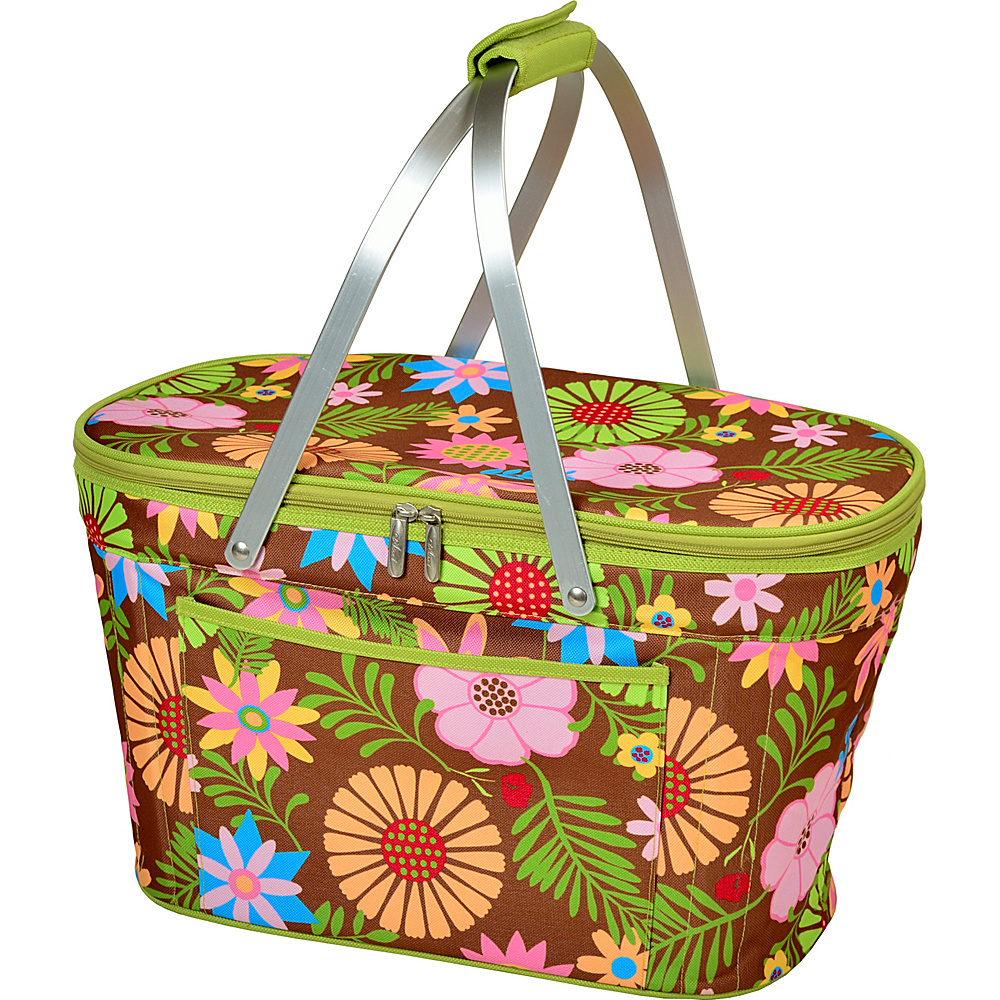 Picnic at Ascot Stylish Insulated Market Basket / Picnic Tote with Sewn in Aluminum Frame Floral - Picnic at Ascot Outdoor Coolers - Outdoor, Outdoor Coolers