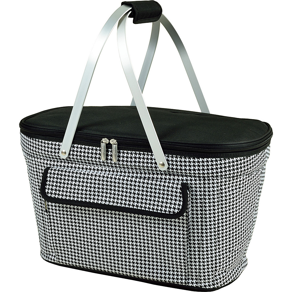 Picnic at Ascot Stylish Insulated Market Basket / Picnic Tote with Sewn in Aluminum Frame Houndstooth - Picnic at Ascot Outdoor Coolers - Outdoor, Outdoor Coolers