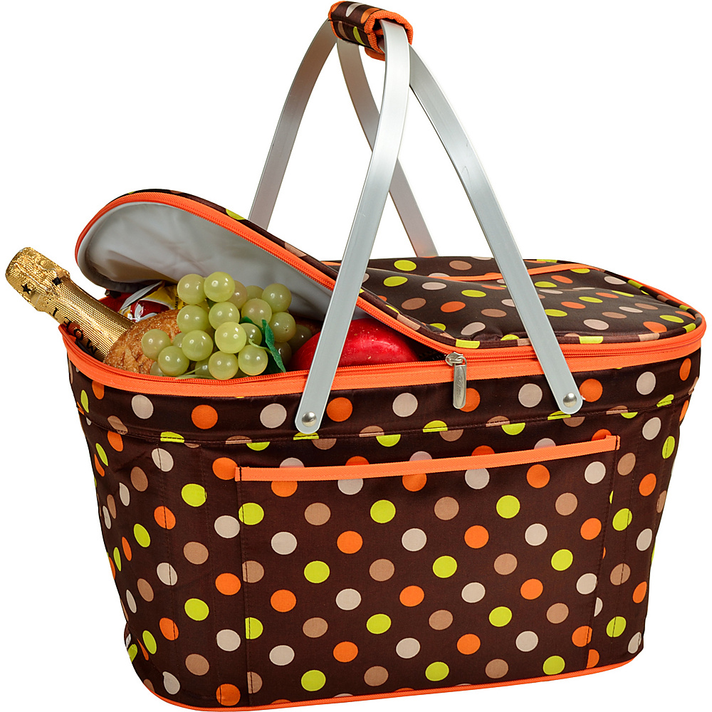 Picnic at Ascot Stylish Insulated Market Basket / Picnic Tote with Sewn in Aluminum Frame Julia Dot - Picnic at Ascot Outdoor Coolers - Outdoor, Outdoor Coolers