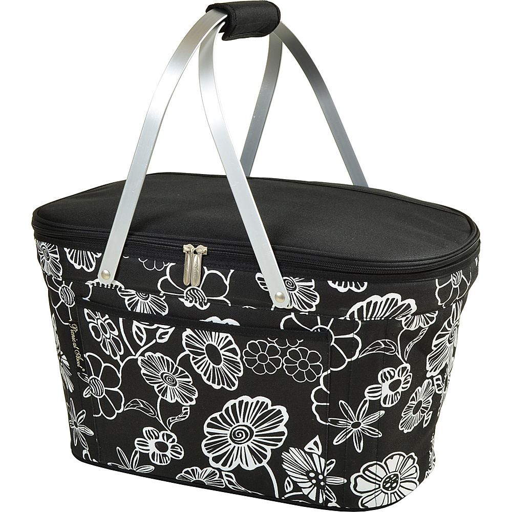 Picnic at Ascot Stylish Insulated Market Basket / Picnic Tote with Sewn in Aluminum Frame Night Bloom - Picnic at Ascot Outdoor Coolers - Outdoor, Outdoor Coolers