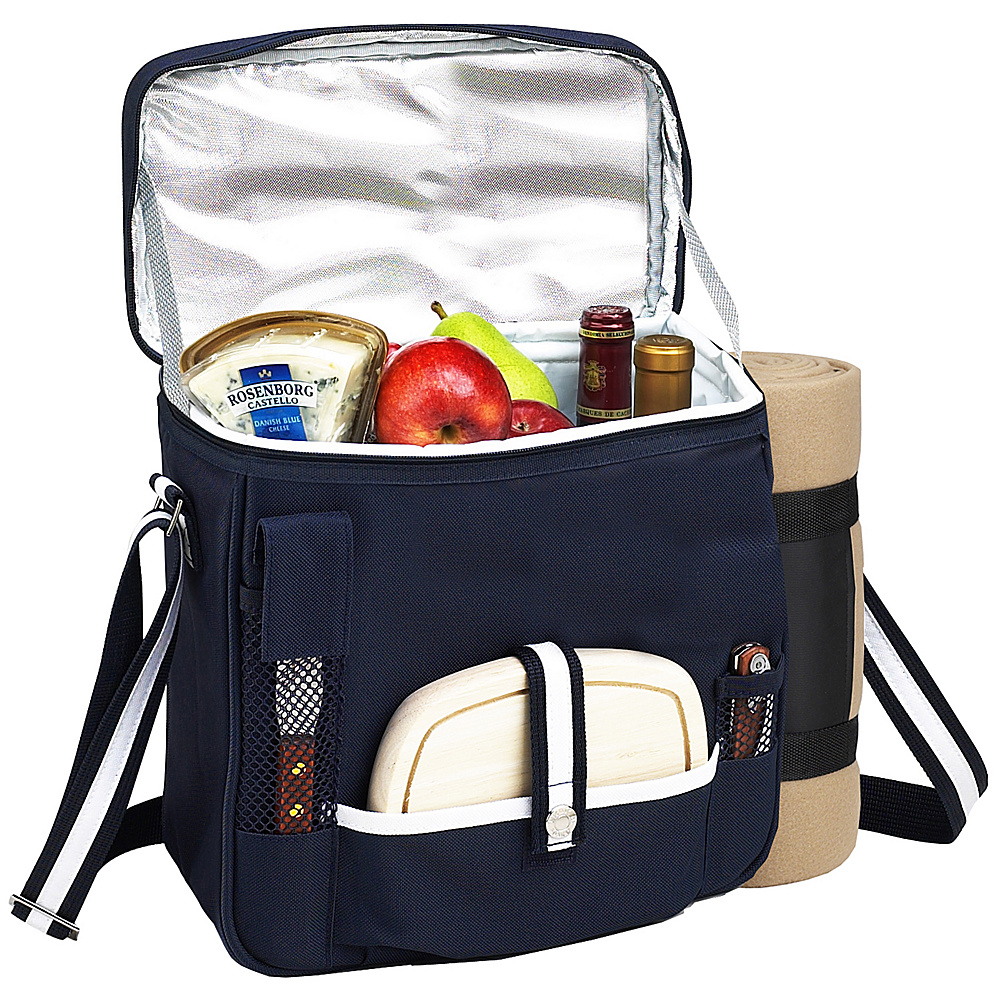 Picnic at Ascot Wine and Cheese Picnic Basket/Cooler with Accessories and Fleece Blanket Navy/White - Picnic at Ascot Outdoor Coolers - Outdoor, Outdoor Coolers
