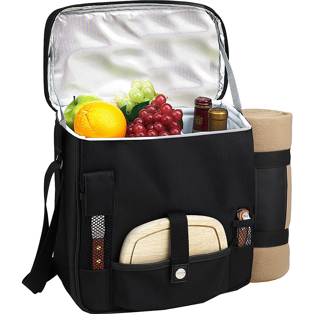 Picnic at Ascot Wine and Cheese Picnic Basket/Cooler with Accessories and Fleece Blanket Black - Picnic at Ascot Outdoor Coolers - Outdoor, Outdoor Coolers