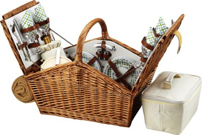 Picnic at Ascot Huntsman English-Style Willow Picnic Basket with Service for 4 and Blanket Wicker w/Gazebo - Picnic at Ascot Outdoor Accessories
