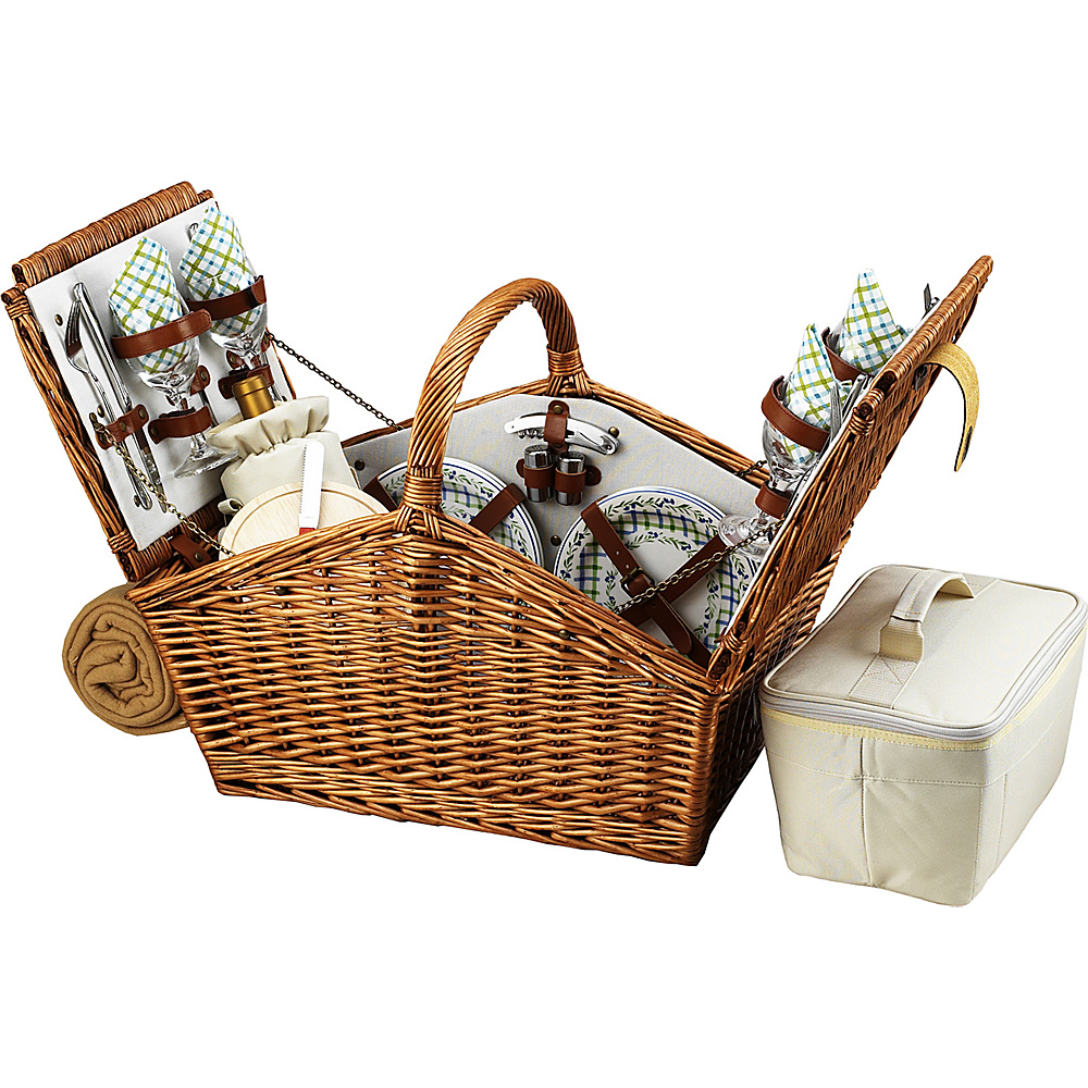 Picnic at Ascot Huntsman English-Style Willow Picnic Basket with Service for 4 and Blanket Wicker w/Gazebo - Picnic at Ascot Outdoor Accessories - Outdoor, Outdoor Accessories