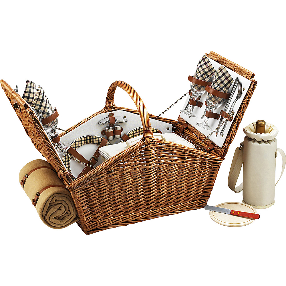 Picnic at Ascot Huntsman English-Style Willow Picnic Basket with Service for 4 and Blanket Wicker w/London - Picnic at Ascot Outdoor Accessories - Outdoor, Outdoor Accessories
