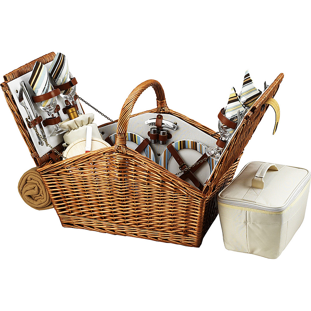 Picnic at Ascot Huntsman English-Style Willow Picnic Basket with Service for 4 and Blanket Wicker w/Santa Cruz - Picnic at Ascot Outdoor Accessories - Outdoor, Outdoor Accessories