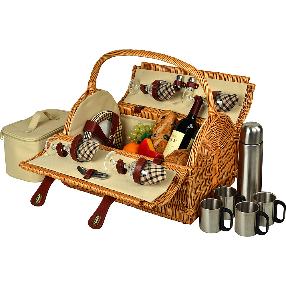 Picnic at Ascot Yorkshire Willow Picnic Basket with Service for 4 with Coffee Set Wicker w/London - Picnic at Ascot Outdoor Accessories - Outdoor, Outdoor Accessories