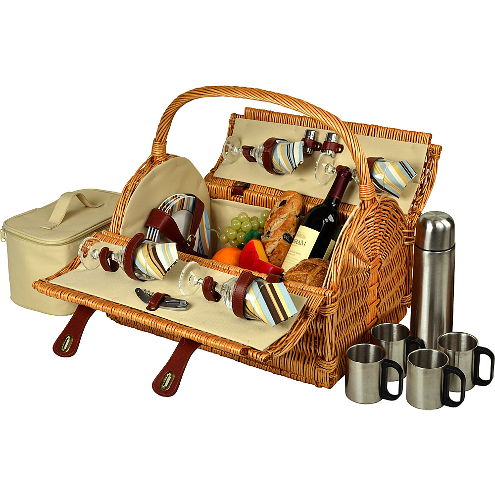 Picnic at Ascot Yorkshire Willow Picnic Basket with Service for 4 with Coffee Set Wicker w/Santa Cruz - Picnic at Ascot Outdoor Accessories - Outdoor, Outdoor Accessories