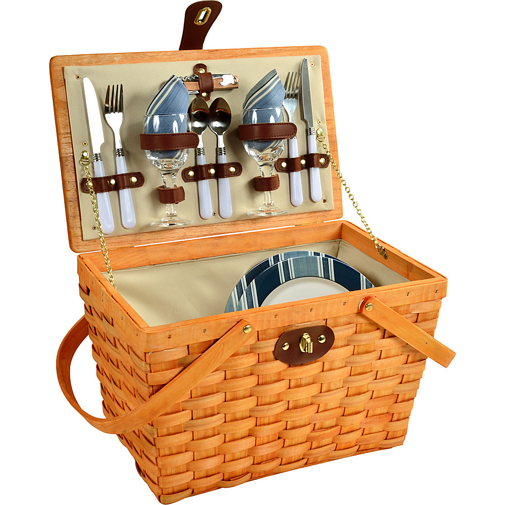 Picnic at Ascot Frisco Traditional American Style Picnic Basket with Service for 2 Honey/Aegean - Picnic at Ascot Outdoor Accessories - Outdoor, Outdoor Accessories