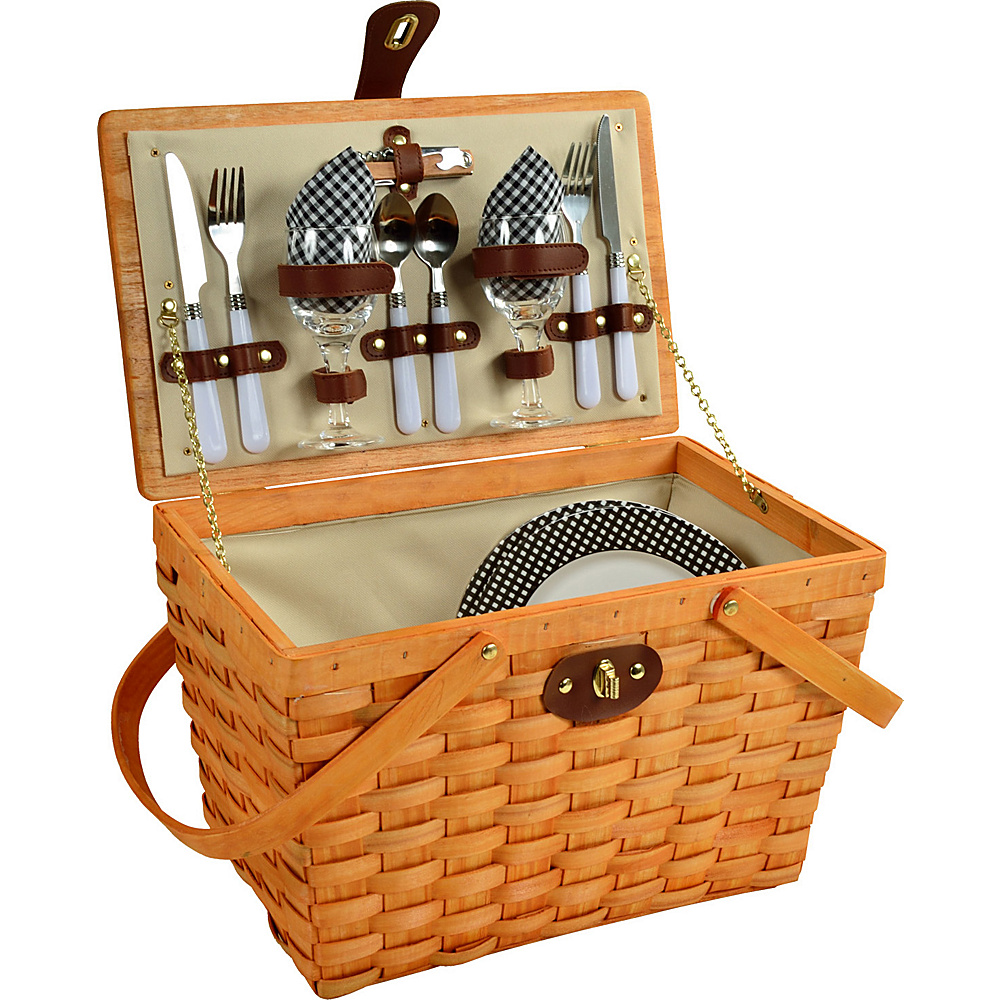 Picnic at Ascot Frisco Traditional American Style Picnic Basket with Service for 2 Honey/Black Gingham - Picnic at Ascot Outdoor Accessories - Outdoor, Outdoor Accessories