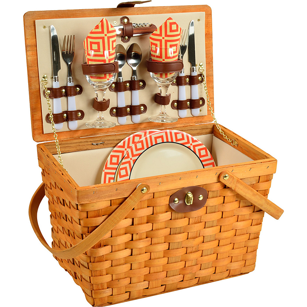 Picnic at Ascot Frisco Traditional American Style Picnic Basket with Service for 2 Honey/Diamond Orange - Picnic at Ascot Outdoor Accessories - Outdoor, Outdoor Accessories