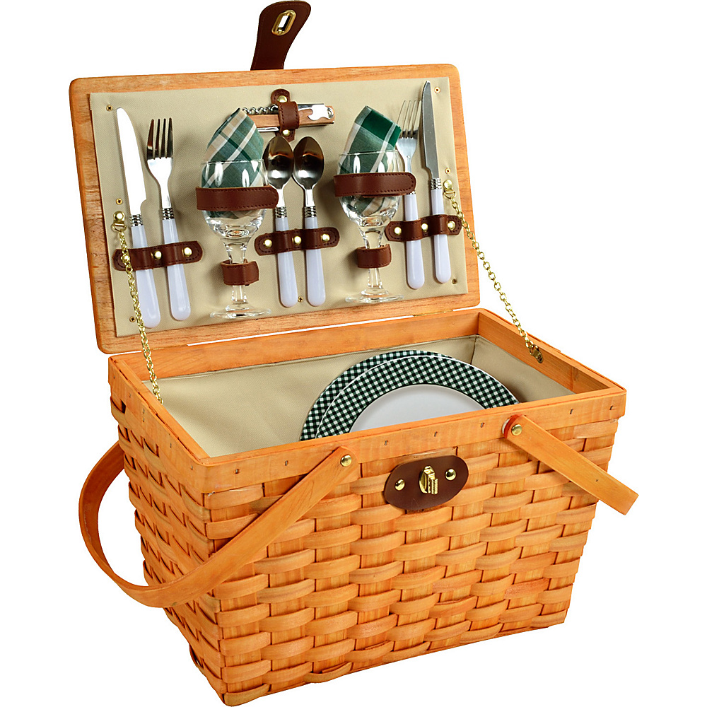Picnic at Ascot Frisco Traditional American Style Picnic Basket with Service for 2 Honey/Green Plaid - Picnic at Ascot Outdoor Accessories - Outdoor, Outdoor Accessories