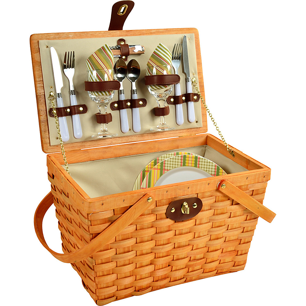 Picnic at Ascot Frisco Traditional American Style Picnic Basket with Service for 2 Honey/Hamptons - Picnic at Ascot Outdoor Accessories - Outdoor, Outdoor Accessories