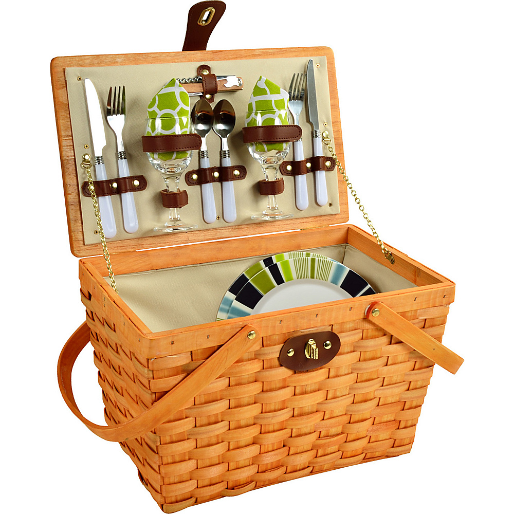 Picnic at Ascot Frisco Traditional American Style Picnic Basket with Service for 2 Honey/Trellis Green - Picnic at Ascot Outdoor Accessories - Outdoor, Outdoor Accessories