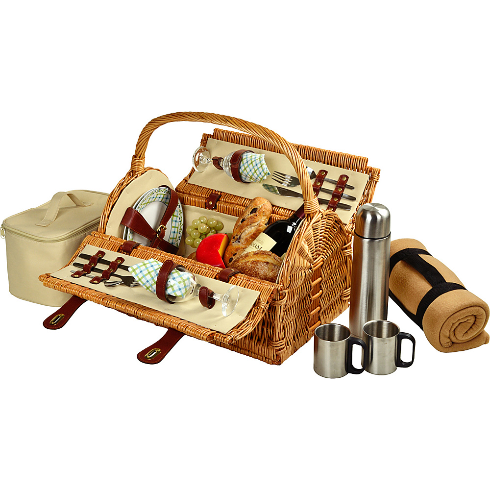 Picnic at Ascot Sussex Willow Picnic Basket with Service for 2,  Coffee Set and Blanket Natural/Gazebo - Picnic at Ascot Outdoor Accessories - Outdoor, Outdoor Accessories
