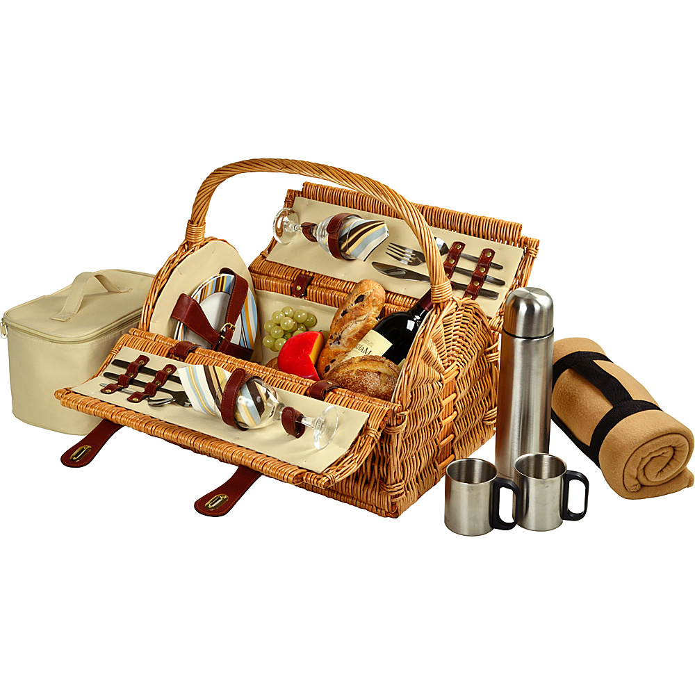 Picnic at Ascot Sussex Willow Picnic Basket with Service for 2,  Coffee Set and Blanket Brown Wicker/Santa Cruz - Picnic at Ascot Outdoor Accessories - Outdoor, Outdoor Accessories