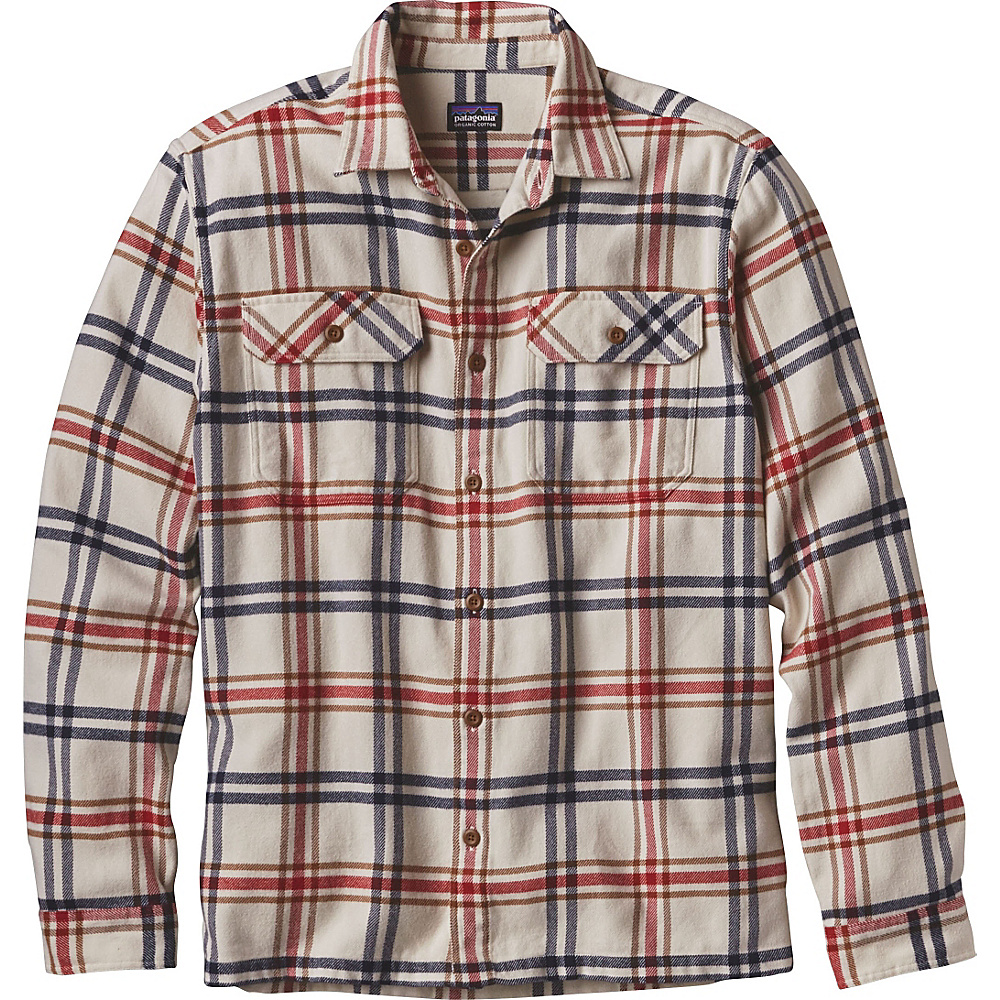 Patagonia Mens Long Sleeve Fjord Flannel 2XL - Windrow: Toasted White - Patagonia Mens Apparel - Apparel & Footwear, Men's Apparel