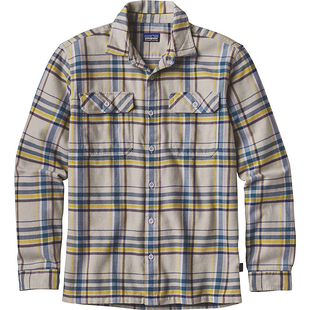 Patagonia Mens Long Sleeve Fjord Flannel XS - Blue Ox: Tailored Grey - Patagonia Mens Apparel - Apparel & Footwear, Men's Apparel