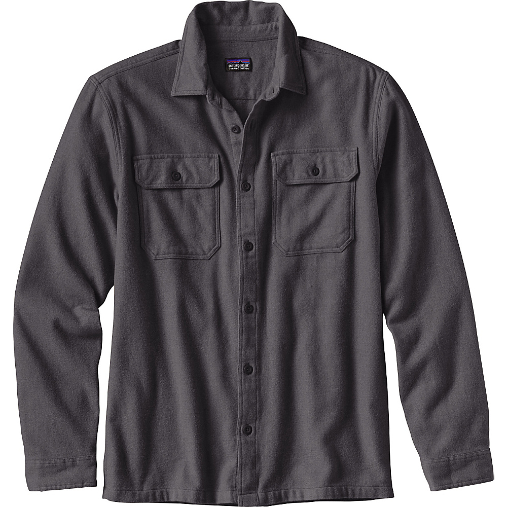 Patagonia Mens Long Sleeve Fjord Flannel L - Forge Grey - Patagonia Mens Apparel - Apparel & Footwear, Men's Apparel