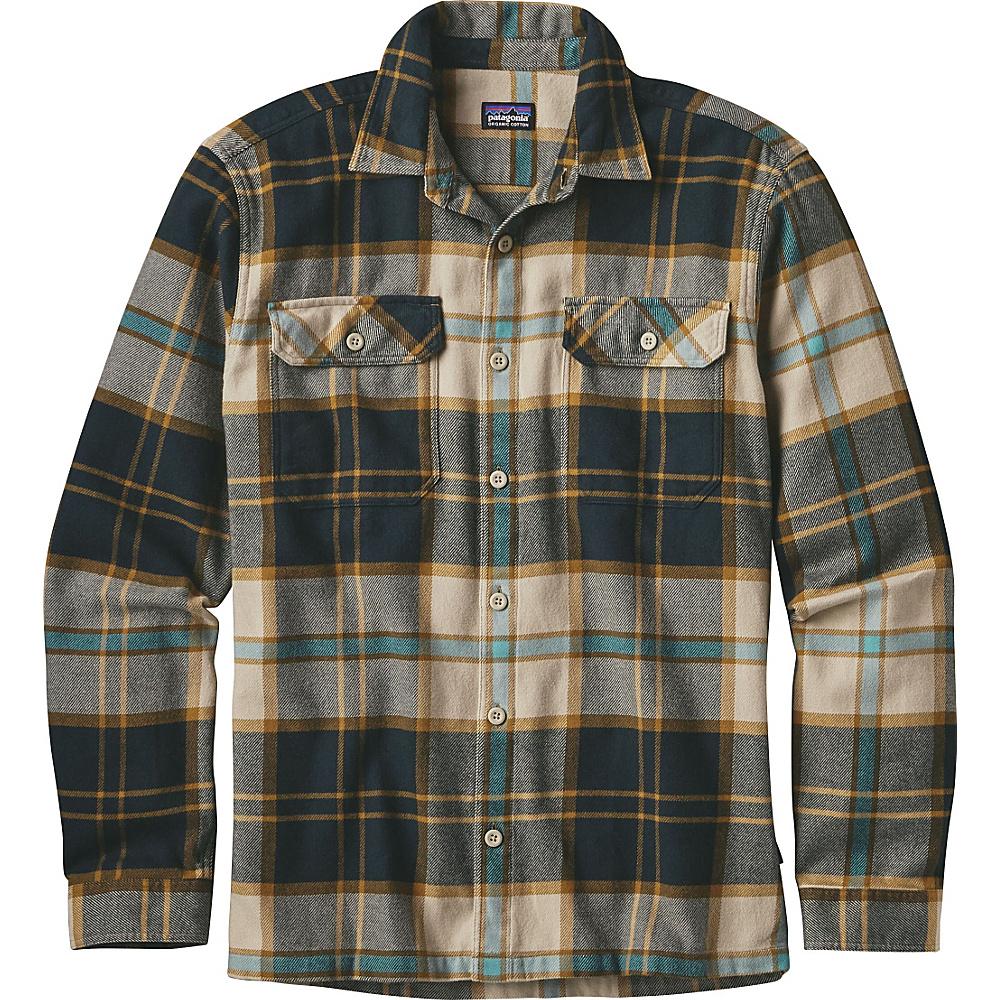 Patagonia Mens Long Sleeve Fjord Flannel XS - Sugar Pine: El Cap Khaki - Patagonia Mens Apparel - Apparel & Footwear, Men's Apparel