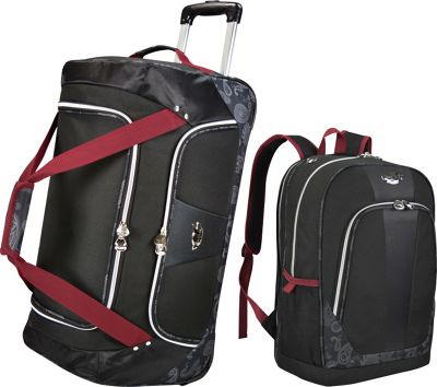 Bret Michaels Luggage Classic Road 2 Piece Rolling Duffel and Laptop Backpack Travel Set Black - Bret Michaels Luggage Luggage Sets