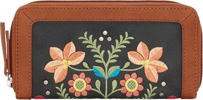 Image of Bandana Maya Zip Around Wallet Charcoal / Terracotta - Bandana Women's Wallets