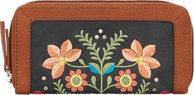 Bandana Maya Zip Around Wallet Charcoal / Terracotta - Bandana Women's Wallets