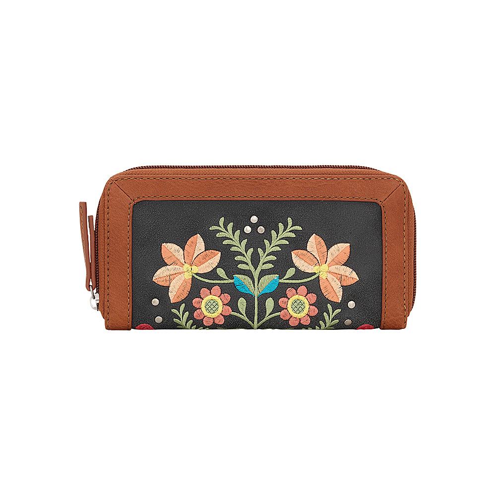 Bandana Maya Zip Around Wallet Charcoal Terracotta Bandana Women s Wallets