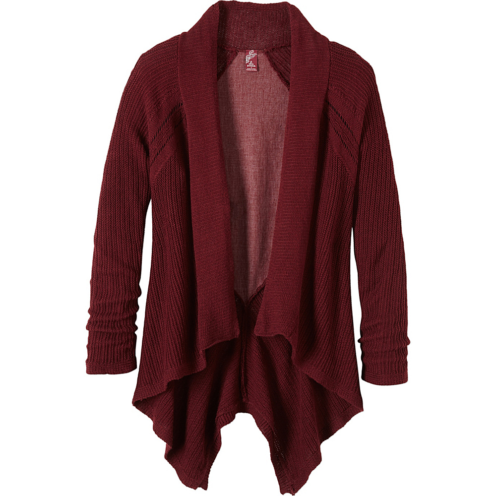 PrAna Diamond Sweater Cardi M - Burgundy - PrAna Womens Apparel - Apparel & Footwear, Women's Apparel