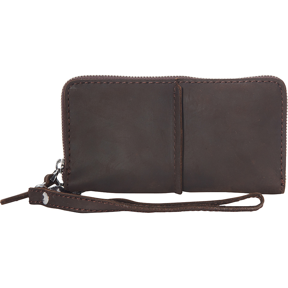Vagabond Traveler Full Grain Leather Long Shape Zipper Wallet Dark Brown - Vagabond Traveler Womens Wallets - Women's SLG, Women's Wallets