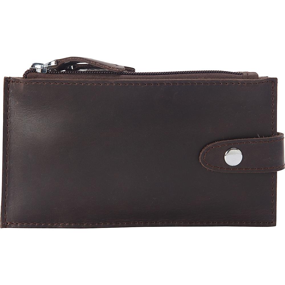 Vagabond Traveler Full Grain Leather Slim Large Card Holder Dark Brown - Vagabond Traveler Womens Wallets - Women's SLG, Women's Wallets
