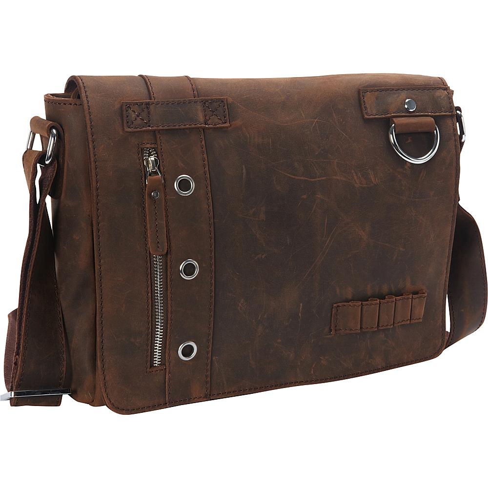 Vagabond Traveler Full Grain Leather Asymmetrical Messenger Bag Vintage Brown - Vagabond Traveler Messenger Bags - Work Bags & Briefcases, Messenger Bags