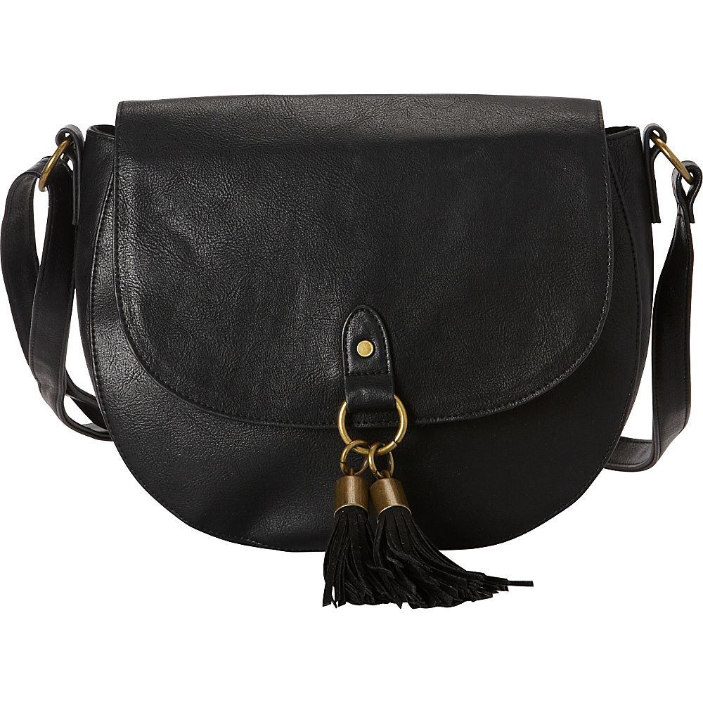 T shirt Jeans Vancouver Saddle Bag with Tassels Black T shirt Jeans Manmade Handbags